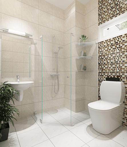 Hoặc sử dụng những loại gạch có gam màu vàng be kết hợp với đồ nội thất trắng sao cho sang chảnh nhất.