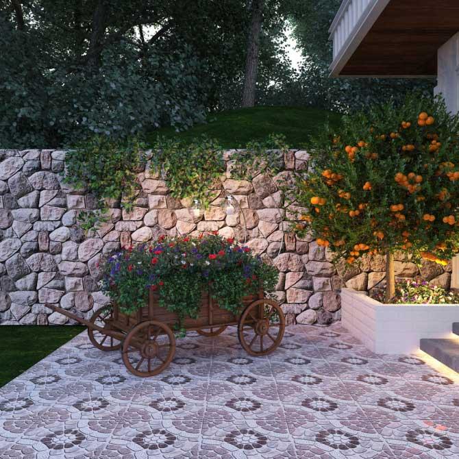 Gạch lát sân vườn đẹp nhất khi nó phù hợp với cảnh quan khu vườn