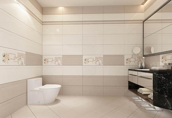 Gạch ốp tường nhà tắm màu trung tính