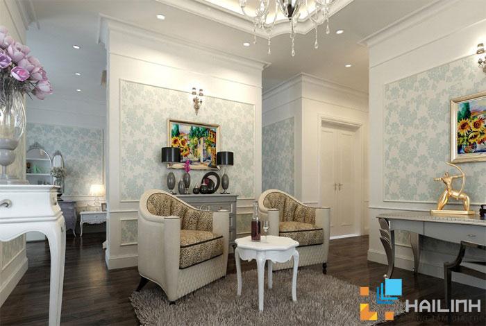 Trang trí phòng khách bằng gạch ốp tường Đồng Tâm cực đơn giản