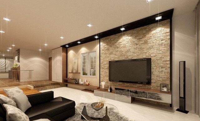 Trang trí phòng khách bằng gạch ốp tường Đồng Tâm cực đơn giản 2