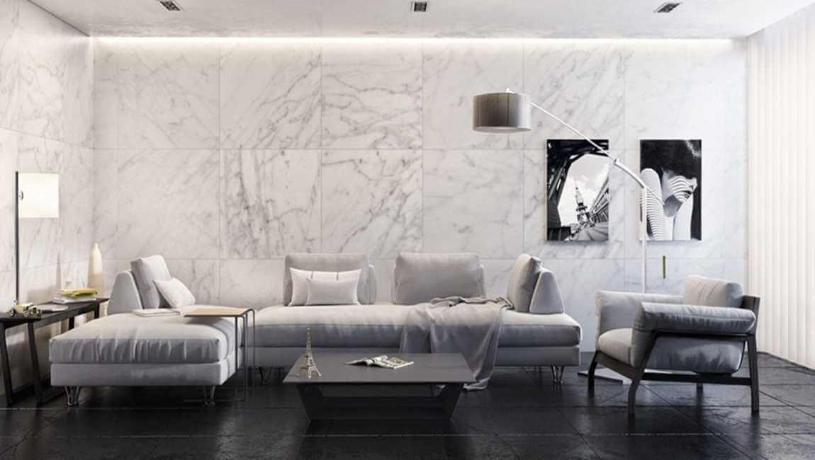 Nguyên tắc phối màu gạch ốp tường phòng khách mát nhãn