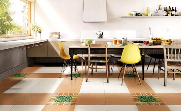 Phòng bếp sử dụng gạch lát nền 40x40cm